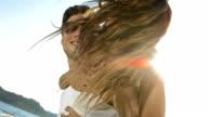 HD Super Slow-Mo: Happy Piggyback Couple On Honeymoon Vacation video