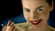 HD Super Slow-Mo: Happy Young Woman Eating Spaghetti video