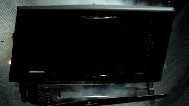 HD Super Slow-Mo: LCD Exploding Into Many Pieces video