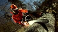 HD Super Slow-Mo: Logger Bucking A Tree video