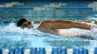 HD Super Slow-Mo: Man Swimming Front Crawl video