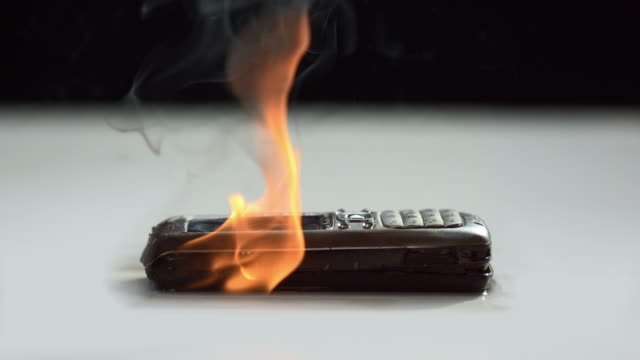 HD Super Slow-Mo: Mobile Phone On Fire video