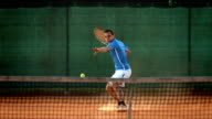 HD Super Slow-Mo: Playing Tennis On The Clay Court video