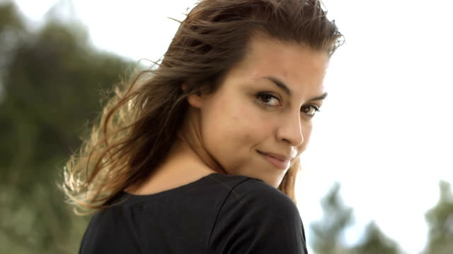 HD Super Slow-Mo: Portrait Of A Beautiful Woman video