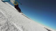 HD Super Slow-Mo: Professional Snowboarder Carving Through Snow video