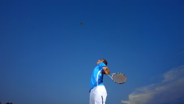 HD Super Slow-Mo: Professional Tennis Player Serving The Ball video