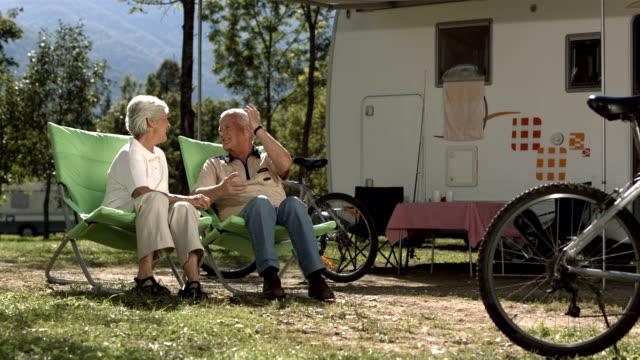 HD Super Slow-Mo: Senior Couple Enjoys Camping video