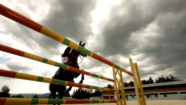 HD Super Slow-Mo: Show Jumping On A Stormy Day video