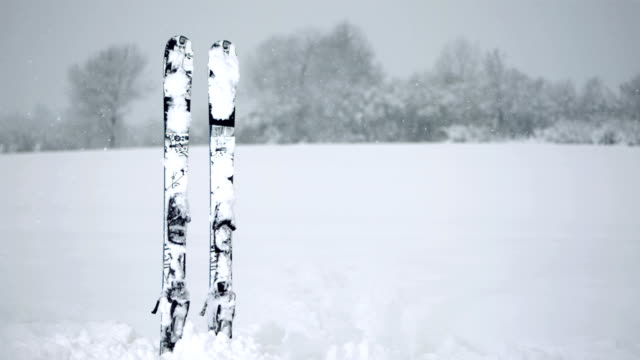 HD Super Slow-Mo: Skis Stuck in the Snow video