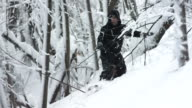 HD Super Slow-Mo: Snowboarding Through The Forest video