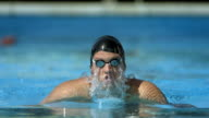 HD Super Slow-Mo: Swimmer Performing The Breaststroke video