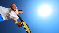 HD Super Slow-Mo: Tennis Player Throwing The Ball Straight Up video