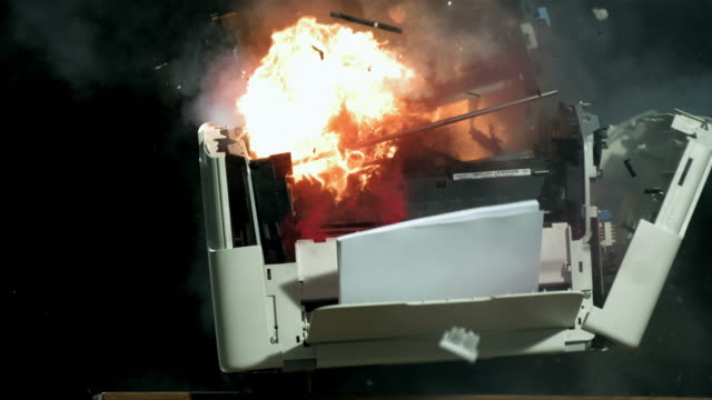 HD Super Slow-Mo: Vintage Computer Printer Explosion video