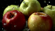 HD Super Slow-Mo: Water Drops Falling On Apples video