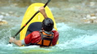 HD Super Slow-Mo: Whitewater Kayaker Rolling On The Rapids video