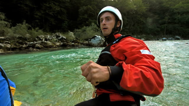 HD Super Slow-Mo: Whitewater Rafting Guide video