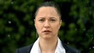 HD Super Slow-Mo: Worried Businesswoman In The Rain video
