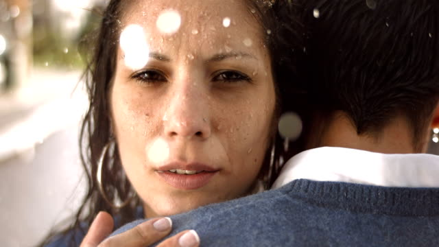 HD Super Slow-Mo: Worried Couple In The Rain video