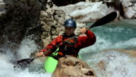 HD Super Slow-Mo: Young Kayaker Running The Rapids video