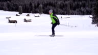 HD Super Slow-Mo: Young man at cross country skiing video