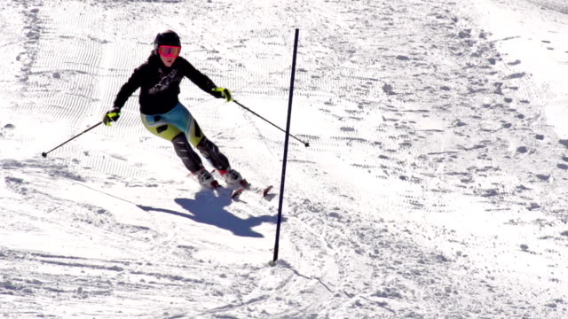 HD Super Slow-Mo: Young Woman Practicing Slalom video