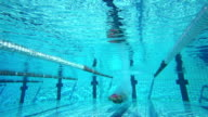 HD Super Slow-Mo: Young Woman Starting Breaststroke Race video