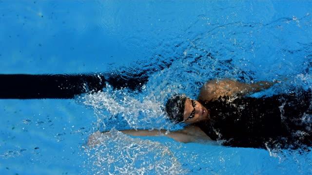HD Super Slow-Mo: Young Woman Swimming Backstroke video