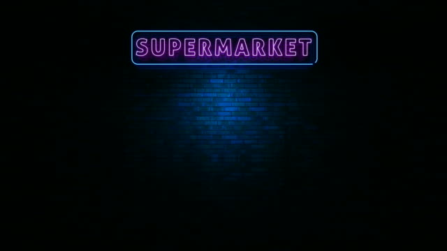 Supermarket Neon Ligtht Sign Flickering at Wall in the Night video