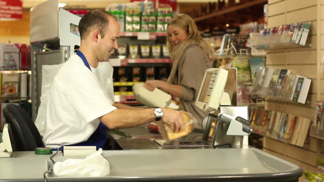 Supermarket / Store shopping checkout Customer video