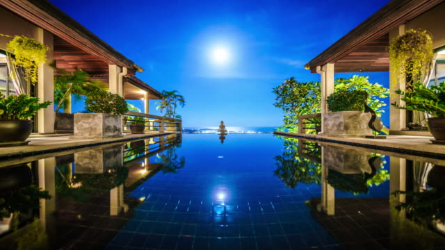 Supermoon rising over the pool at the villa time lapse 4K video