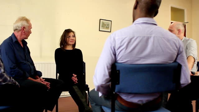Support Group, young woman shares in Therapy group, Counselling video