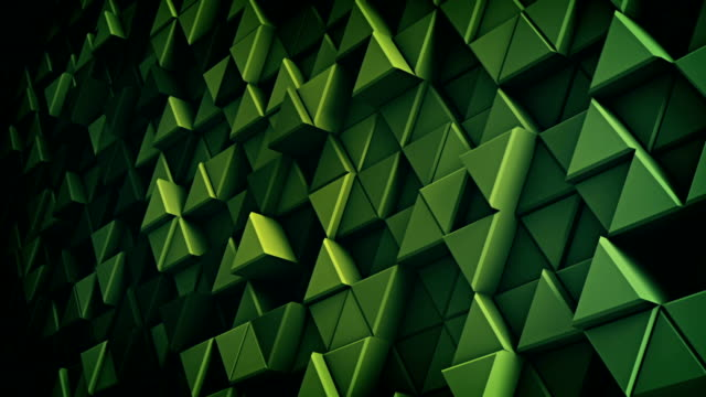 Surface of green extruded triangles 3D render loopable video