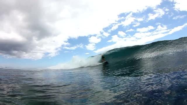 Surfer Gets Barrel Ride Water Shot video