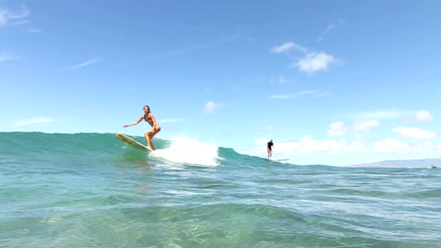 Surfer Girl Surfing Ocean Wave video