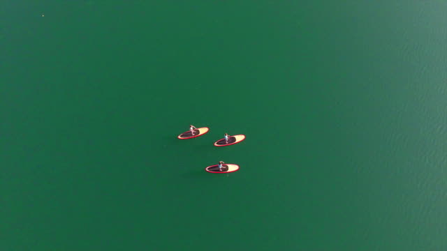 AERIAL: Surfer girlfriends SUP boarding on flat water surface video