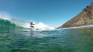 SLOW MOTION UNDERWATER: Surfer guy surfing and falling into wave video