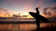 Surfer walking along beach at sunrise, Hawaii video