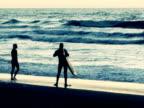 Surfers at Ocean Beach, San Francisco, California video