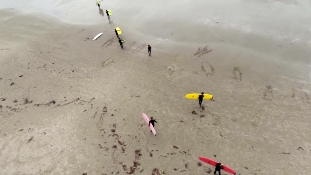Surfers walking to the beach video