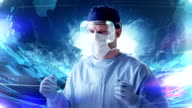 Surgeon working in holographic virtual reality glasses. Medical research video