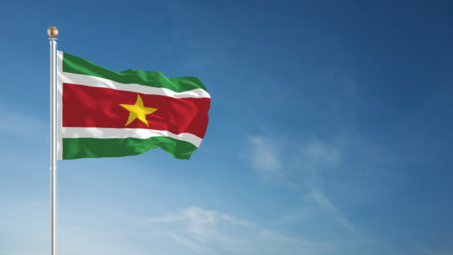 4K Suriname Flag - Loopable video