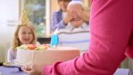 SLO MO surprise birthday cake for grandpa video