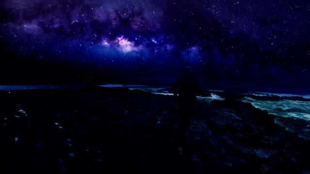 Surreal landscape. Colorful sky, huge waves and Milky Way in background video