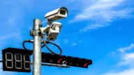 surveillance camera against blue sky video