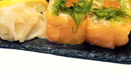 Sushi dish on white background video