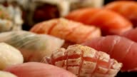 Sushi plate. macro pull focus shot of a variety of sushi video