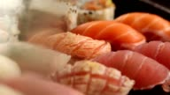Sushi plate. macro shot of a variety of sushi video