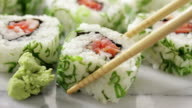 Sushi roll pieces video