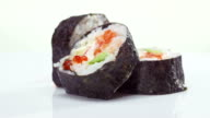 Sushi roll with salmon, avocado and caviar video
