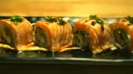 sushi rolls dolly shot video